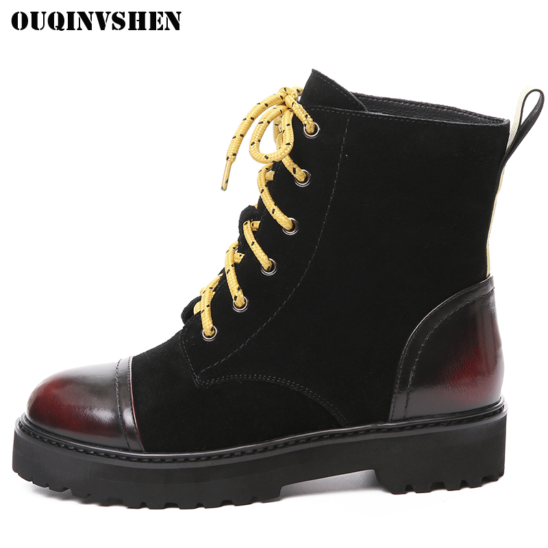 OUQINVSHEN Lace Up Round Toe Women Boots Casual Fashion Women Motorcycle Ankle Boots 2017 Winter Mixed Colors Flat Ladies Boots new arrival women genuine leather flat ankle boots fashion round toe lace up ankle boots for women ladies casual cow suede boots