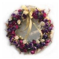 35 cm Retro Mor Manuel Çiçek Çelenk Yapay Çiçek Düğün Dekorasyon Kapı Araba Dekoratif Çiçek Çelenkler S
