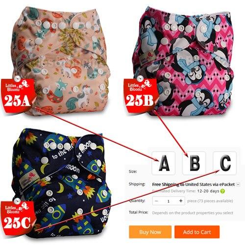 [Littles& Bloomz] Детские Моющиеся Многоразовые Тканевые карманные подгузники, выберите A1/B1/C1 из фото, только подгузники/подгузники(без вставки - Цвет: 25