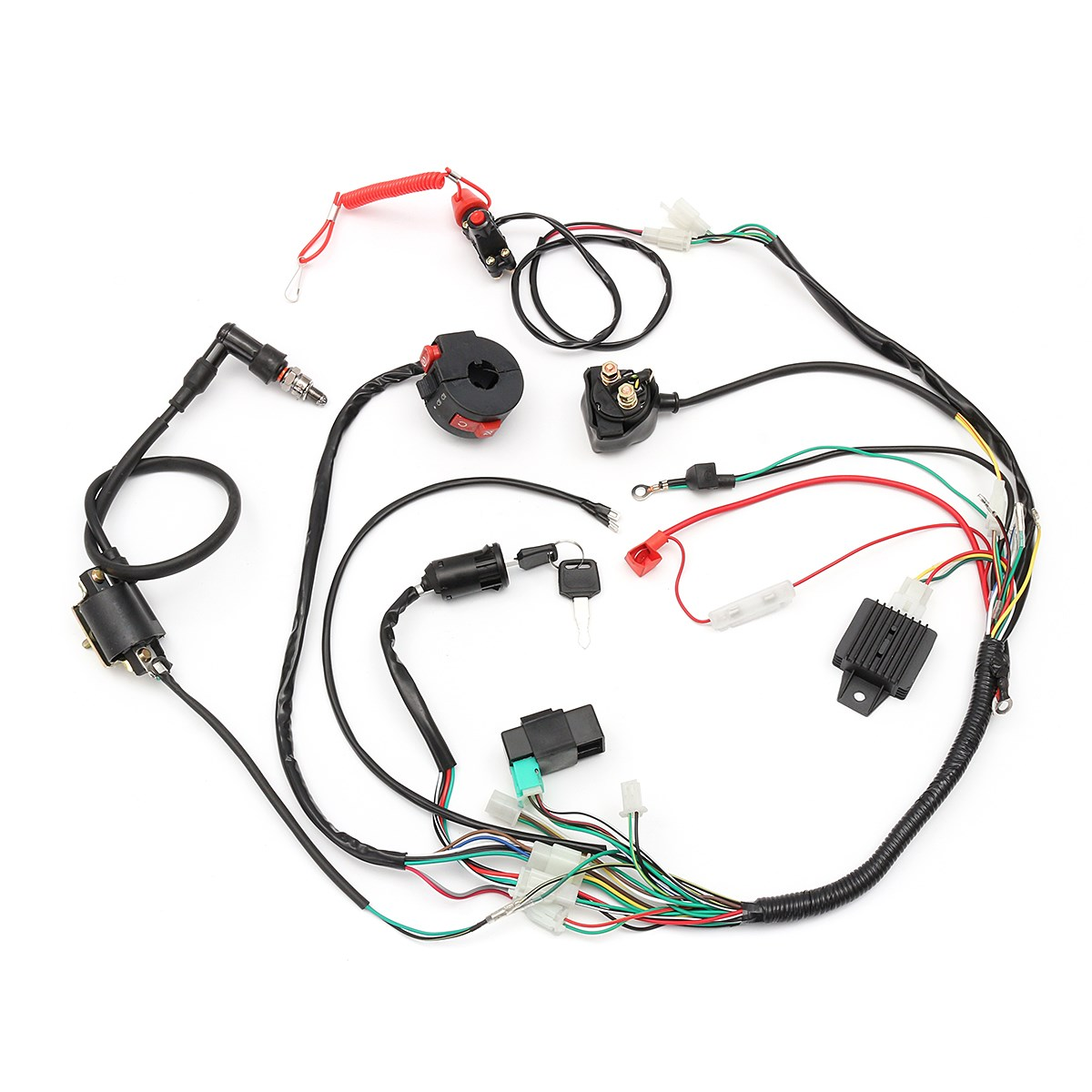 Cdi Engine Start Harness Set Wiring Loom Solenoid Coil Dune Buggy Turn Signal Rectifier For 50 70 90 110 125cc Quad Dirt Bike Atv Go Kart In Motorbike Ingition From