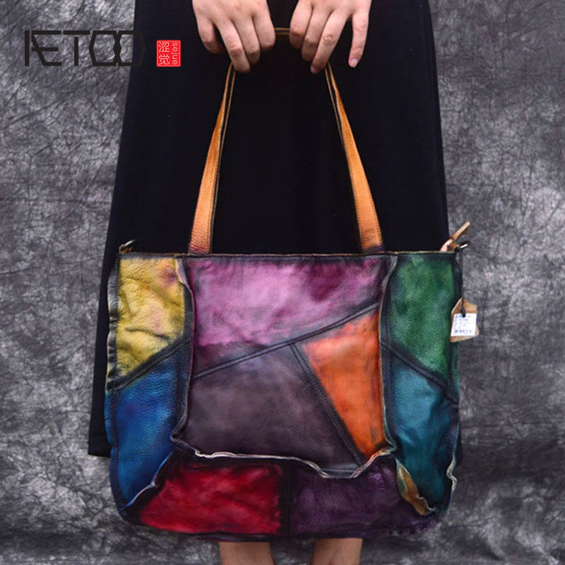 цена AETOO Leather handbags new top layer leather color retro irregular stitching simple casual slung shoulder bag