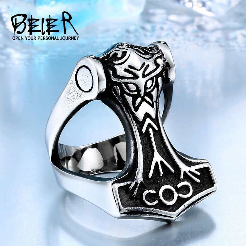 BEIER Unique design 316L Stainless Steel Fashion Northern Europe Vikking Ring Nordic Myth Thor Jewelry for man BR8-441(China)