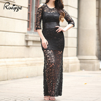 2017 Womens Dresses New Arrival Slim Pencil Long Maxi Dress Black Oversized Peplum Half Sleeve Lace