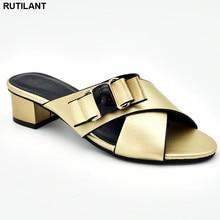 Nouvelle mode dames sandales à talons de luxe femmes chaussure 2019 élégant italien femmes parti pompes sans lacet talons bas pompes pour les femmes