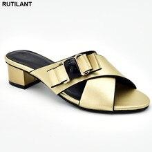 Sandalias de tacón bajo para mujer, zapatos italianos elegantes, de fiesta, sin cordones, a la moda, 2019