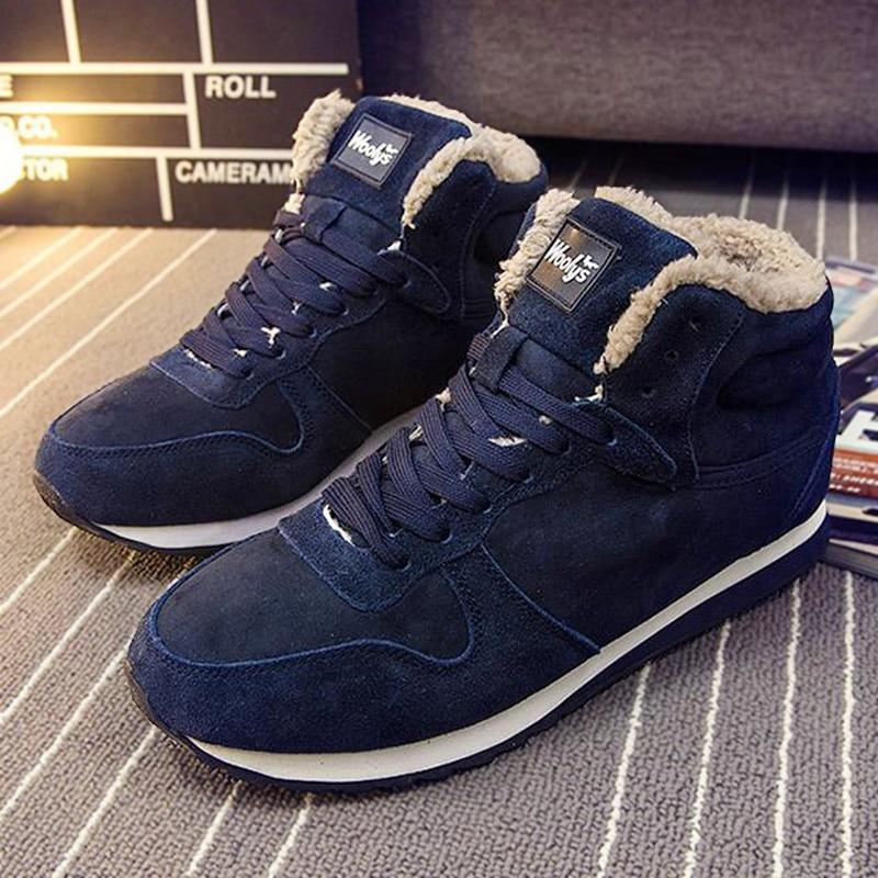 Men boots Ankle Men's Winter Shoes Fashion Snow Boots Warm Lace Up Fur Shoes Plus size 46 45