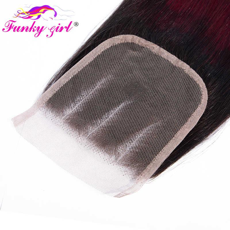 Funky Meisje Ombre Bundels met Sluiting Peruaanse Remy Menselijk Haar Weave Bundel met Sluiting 1B/99j 4*4 vetersluiting met 3 Bundels