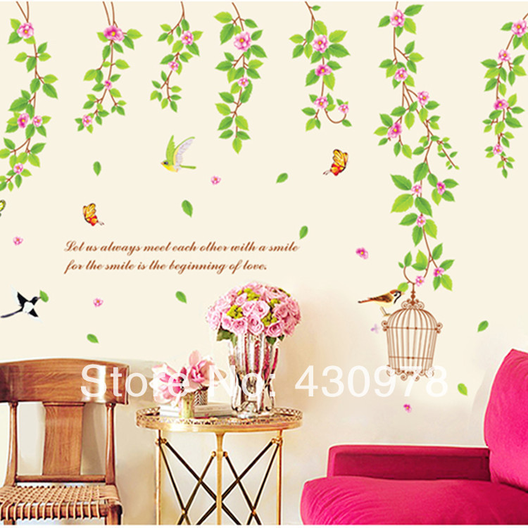 QZ802 Free Shipping 1Pcs Green Leaf Branch Bird Birdcage Butterfly Removable PVC Wall Stickers <font><b>Elegant</b></font> <font><b>Home</b></font> <font><b>Decoration</b></font> Gift