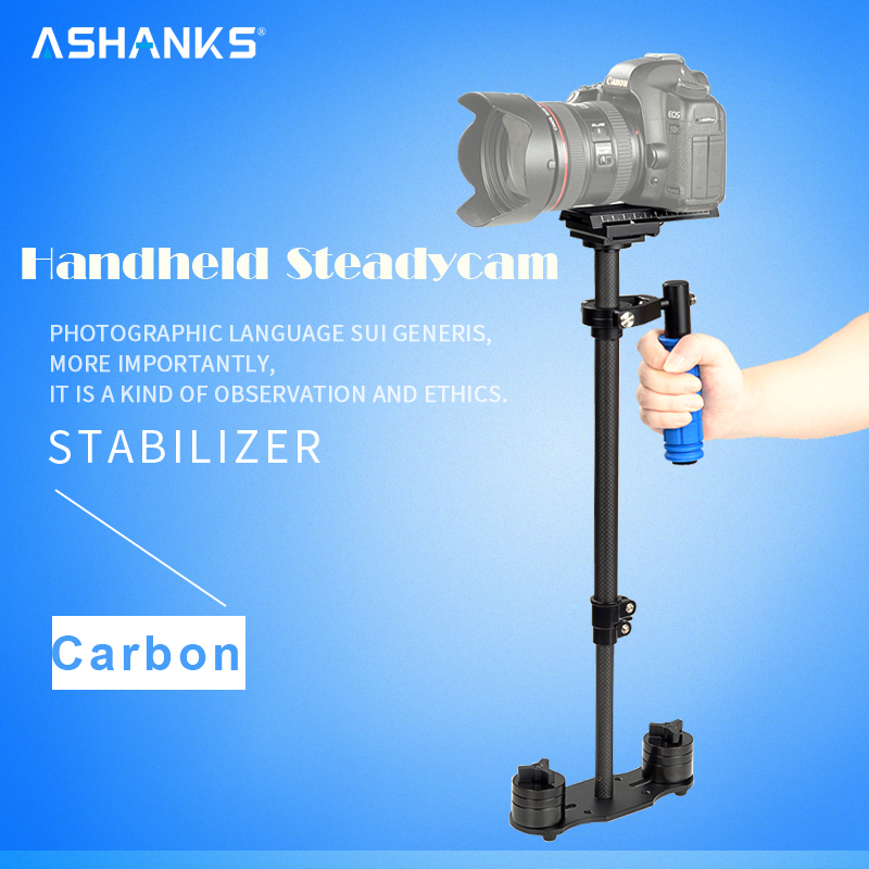 ASHANKS S-60C 60cm Stabilizer  Load 3kg Carbon Fiber Steadycam  S60 with bag for DSLR camera and DV camcorder Free Shipping laing h5 mini carbon fiber handheld stabilizer with 6 17lb 2 8kg loading capacity for dslr cameras with bag and arm brace wrist