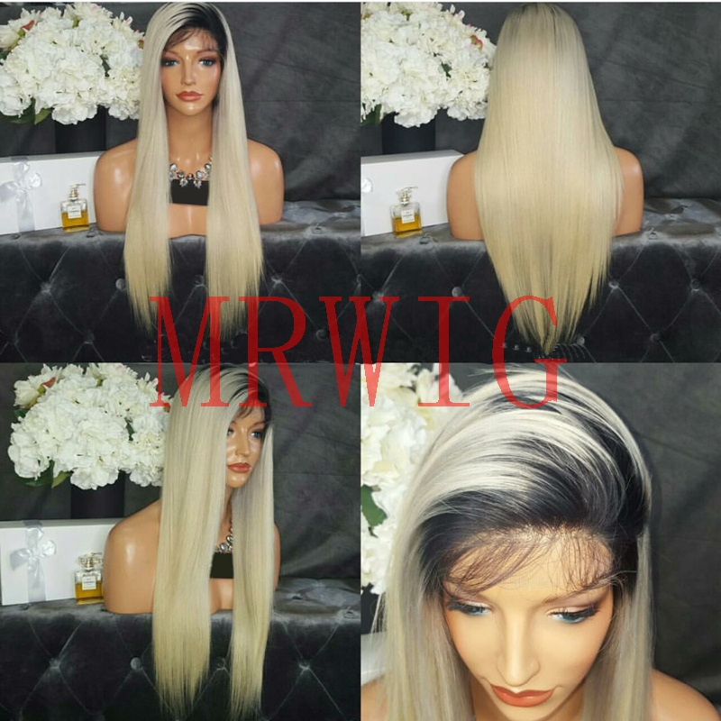 MRWIG natural looking 1b#ombre#60 blonde synthetic glueless front wig short dark roots baby hair free part heat resistant fiber