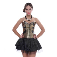 Gold Faux Leather party Corset Sexy Cup Zipper Sequins Carnival Dress Lace Showtime Mini Skirt Showgirl S 2XL Suit