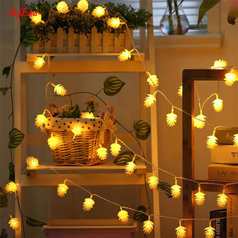 Festive & Party Supplies Pine Cone Light String 1.5m/10led Christmas Garland Led String Lamp Fairy Lights For Indoor New Year Xmas Wedding Decoration 5z Christmas