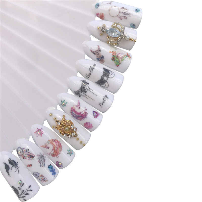 FWC 1 Sheet Blooming Colorful Flower Nail Sticker Coconut Tree Water Decals Black Bird Wraps Sliders for Nail Art Decoration