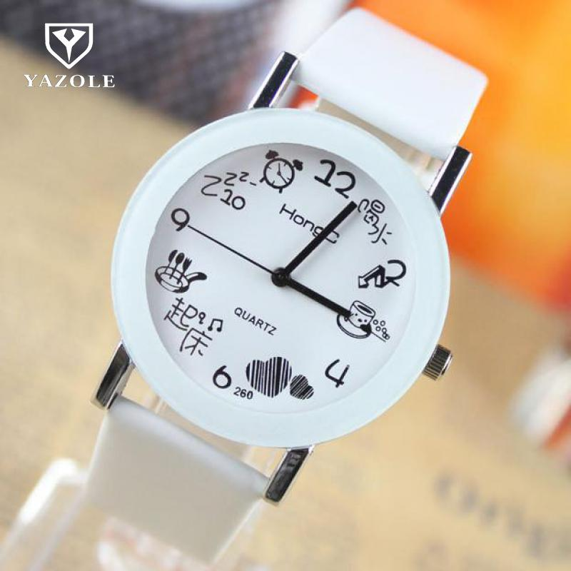 Fashion Korean Hot Selling Cartoon Quartz Pu Leather Durable Wrist Watch Hours For Men Women Couple Students Black White