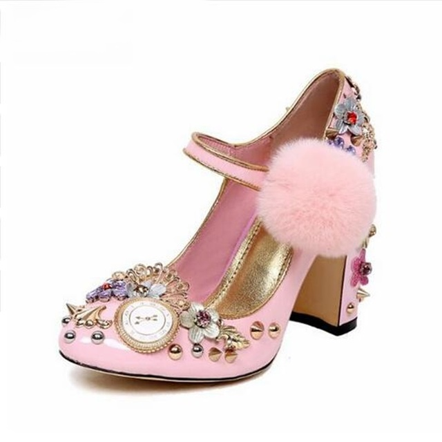 878ec1c60ecd Pink Thick Heels Woman Shoes Round Toe Crystal Embellished Pumps Ankle  Strap shoes Rivets Studded High Heels Pumps Free Ship