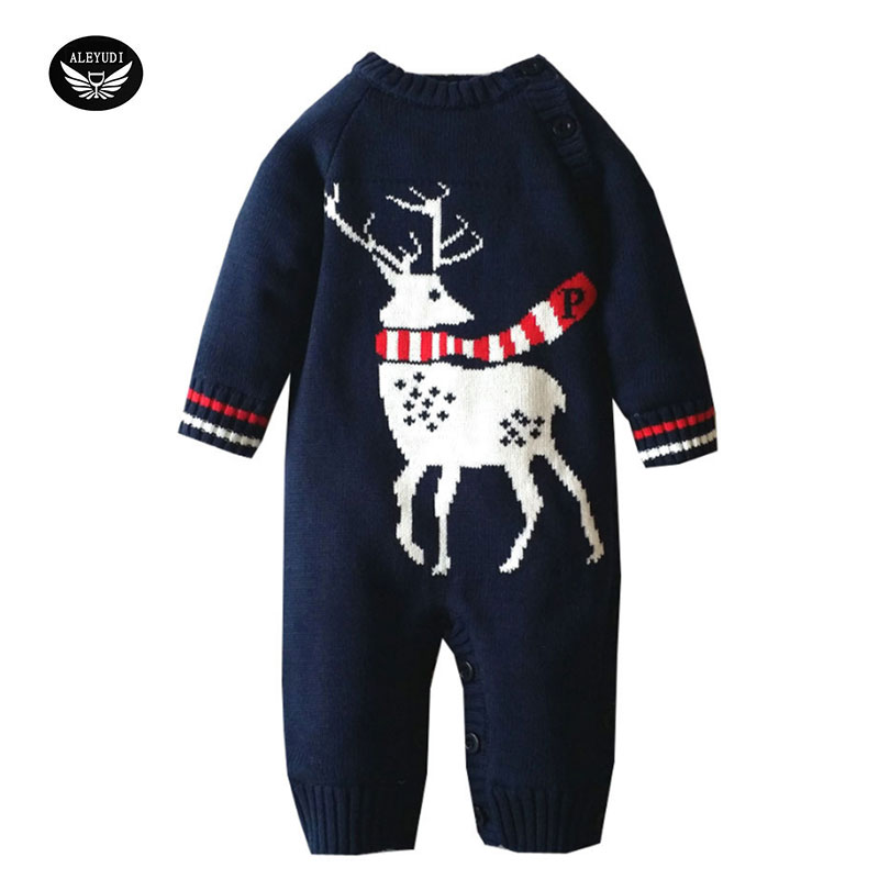 Autumn And Winter Newborn Baby girl overalls Jumpsuit Thickening boy romper Climb Clothes Sweater Cartoon deer Design cartoon boy girl design resin desktop decoration