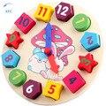 Nova Geometria Matemática De Madeira Bloco Número Relógio Colorido Educacional Bricks Preschool Toy Bebê Crianças Brinquedo de Presente de Aniversário de Natal Xmas