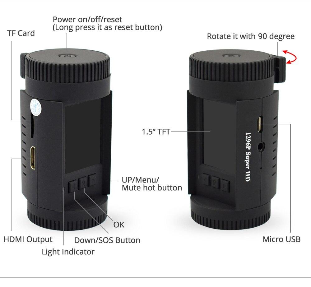 Caméra de tableau de bord Conkim voiture MINI 0826 P 1296 p 30fps H.264 WDR GPS DVR capteur de stationnement vidéo condensateur de Protection basse tension - 5