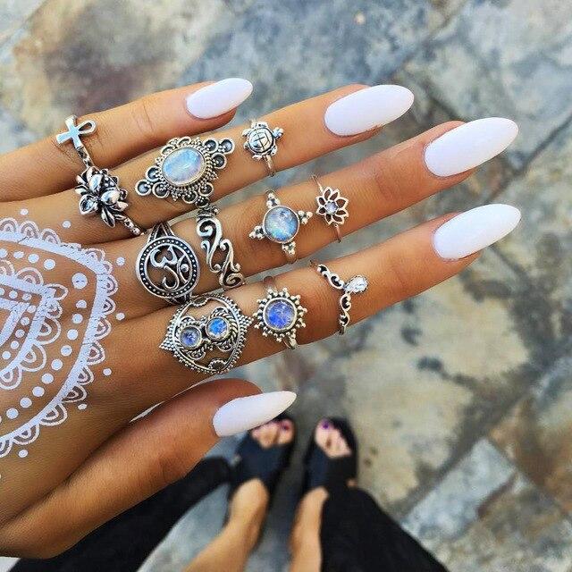 Anéis para As Mulheres Bague Femme Vintage Boho Geométrica Flor Conjunto Anel Da Junta Midi Boêmio de Cristal Dedo Jóias de Prata da Cor