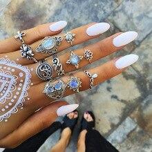 Bague mujer anillos para las mujeres geométrico Boho flor cristal anillo Set Bohemia Midi dedo Color de plata de la joyería