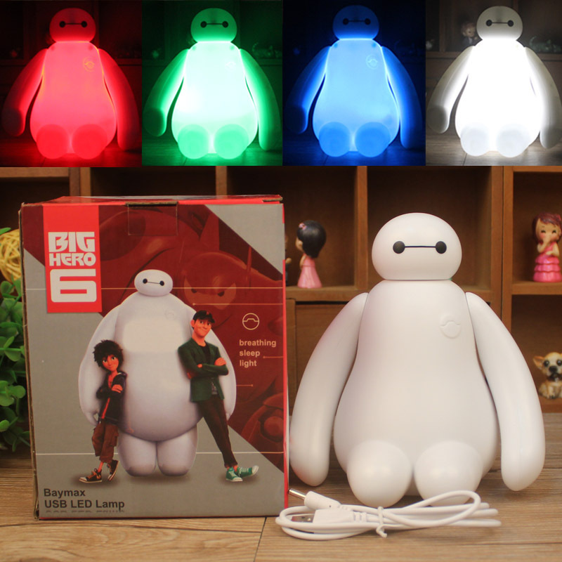 RGB Dimmable Creative New Big Hero Cute Cartoon Baymax LED USB Charging Night Light Bedroom Lamp Children Gift Night Lamp Kids