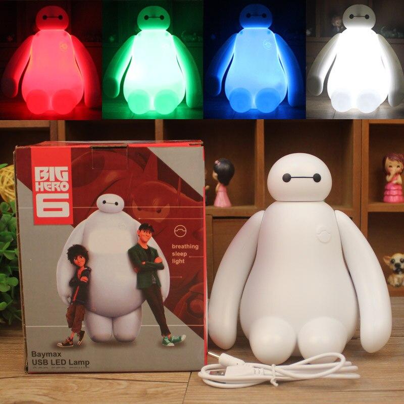 RGB Dimmable Criativo New Big Baymax Herói Bonito Dos Desenhos Animados de Carregamento USB LED Night Light Lamp Quarto Presente Das Crianças Lâmpada Noite crianças