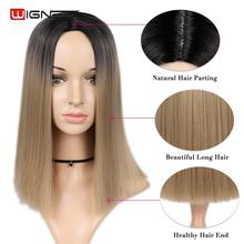Wignee Short Straight Hair Synthetic Wig for Women Black Root To Pink/Blonde High Density Temperature Glueless Cosplay Hair Wigs стоимость
