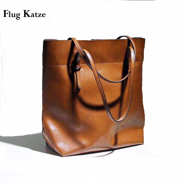 ФОТО fashionable casual black shoulder bags big cowhide leather oil waxing women's bag  leather handbag