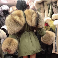 Real Fur Coat Women Parka Winter Jacket Big Natural Raccoon Fur Hood Down Jacket Long Outerwear Real Fox Fur Collar Down Coat