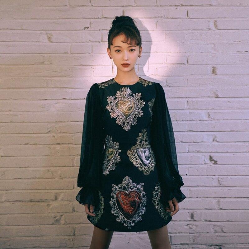 Décontracté femmes automne robe 2018 femme à manches longues élégante robe noire imprimé Floral dentelle Mini dames robes vêtements Vestidos