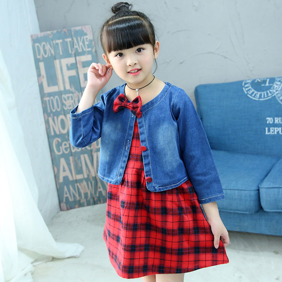 Fashion 2018 Girls Clothing Sets Kids Clothes Denim Tops +Girls Summer Floral Dress Princess 2Pcs Cute Suits Children Clothes girls clothes sets fashion europe the united states style princess suede tassel horse clip long sleeved dress kids clothes