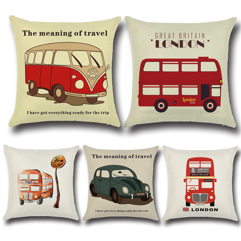 Throw Pillow Meaning : 45X45CM Vintage Home Decor Car Retro Cushion Cover The Meaning Travel Decorative Throw Pillow ...