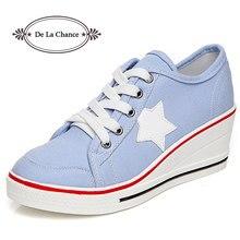 ea2b22cb3 Moda Mulher Mulheres Sapatos Casuais Sapatos Confortáveis Lace Up Plataforma  Sneakers Cunhas Denim Sapatos de Lona