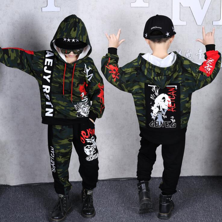 Boys Girls Spring Clothing Set Hip Hop Dancing Costumes Kids Army Green Camouflage Hoodies Pants Outfits For 8 10 12 14 Years