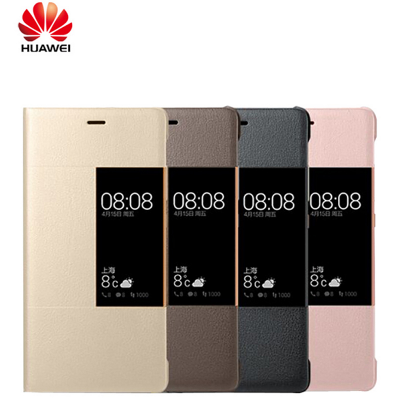 imágenes para 100% Original cubierta de la caja Elegante del cuero del tirón para Huawei teléfono P9 P9 Ventana Casos Inteligentes Para Huawei Ascend Plus funda