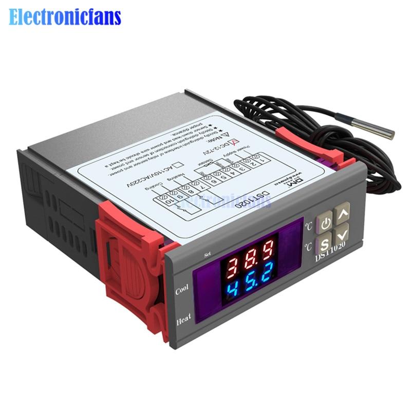 DST1000 /1020 Digital Thermostat LED Display Temperature Controller Sensor DC 12-72V / AC 110V 220V Temp Incubator dual modeDST1000 /1020 Digital Thermostat LED Display Temperature Controller Sensor DC 12-72V / AC 110V 220V Temp Incubator dual mode