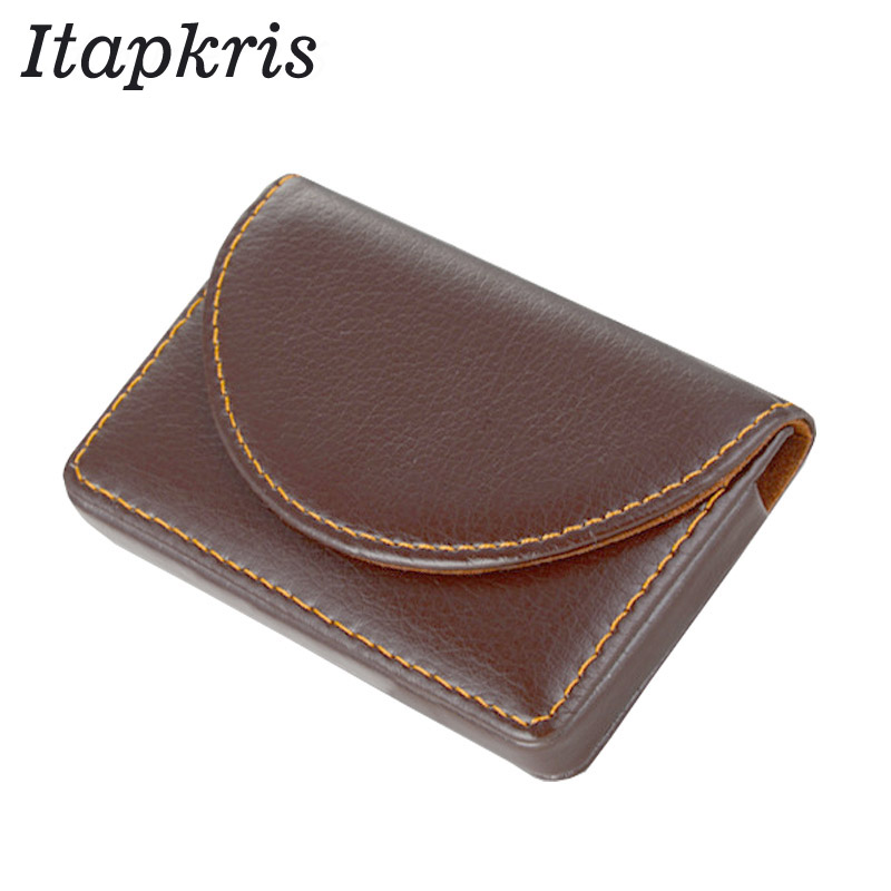 Fashion Leather Women Business Credit Card Holder Solid Vintage ID Name Bank Card Case Small Money Bag Men Porte Carte 2018 pu leather unisex business card holder wallet bank credit card case id holders women cardholder porte carte card case
