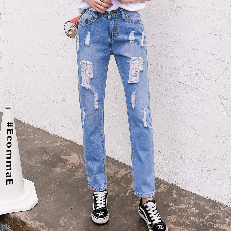 Women Casual washed Pants Hole slim Trousers For Ladies Blue Ripped High Waist Denim Ankle-Length Jeans Loose spring new style spring new fashion cotton jeans women loose high waist washed vintage big hole ripped ankle length denim straight pants mz1535