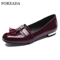 FOREADA Loafers Shoes Women Fringe Square Toe Ballet Flats Shoes Rhinestone Flat Boat Shoes Ladies Spring Red Plus Size 3 12 46