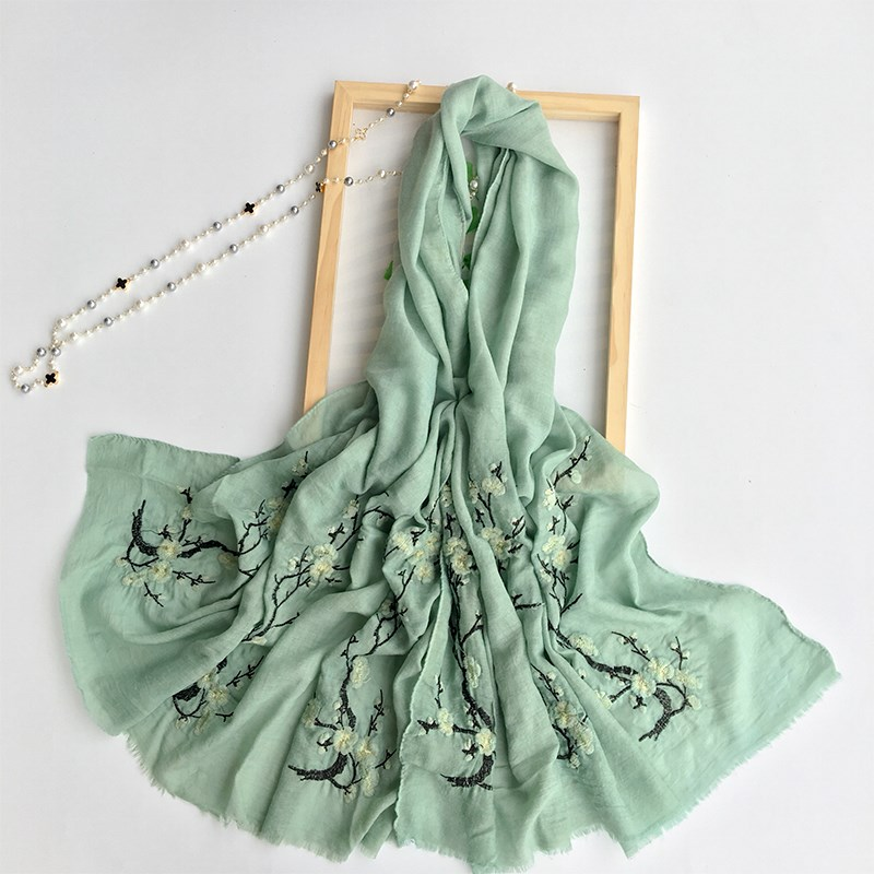 Autumn Winter Ladies Retro Shawls Cotton Scarves Chinese Style Plum Flower Embroidered Women Pure Color Scarf