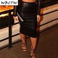 Faldas lápiz de Cuero Aspecto Básico Bodycon Longitud de La Rodilla Negro Alta Cintura Altura 60-65 cm de Largo