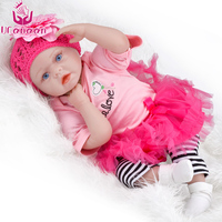 UCanaan 55CM Lifelike Silicone Doll Reborn Realistic Princess Dolls Cloth Body Newborn Babies Toys For Girl COLLECTION