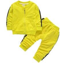 Terno Dos Esportes menino Meninas Primavera Outono Jaqueta Zip Camisola + Sweatpants 2 pcs Ocasional das Criancas Conjuntos de R