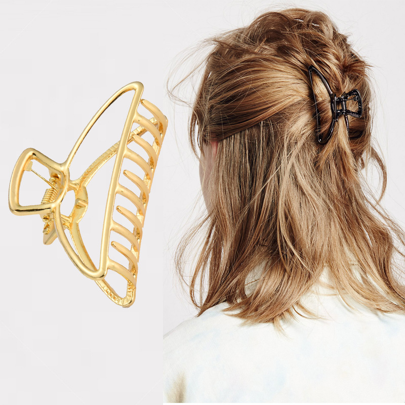 AHB 1pc Alloy Hair Claws Hairpins Gold/Silver Geometric Clips Crab for Women Girls Korean Accessories