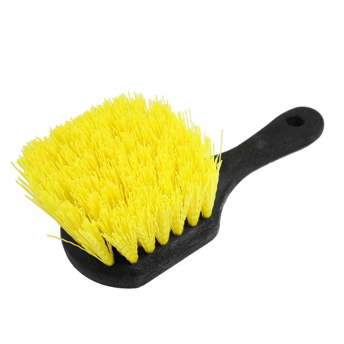 Yellow Black Antislip Handle Tire Wheel Detail Cleaning Brush for Car Auto
