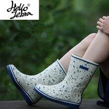 Hellozebra Femmes de Boucle Pluie Bout Rond Rainboots à Hauteur Du Genou  Coton En Forme de b867e71bd355
