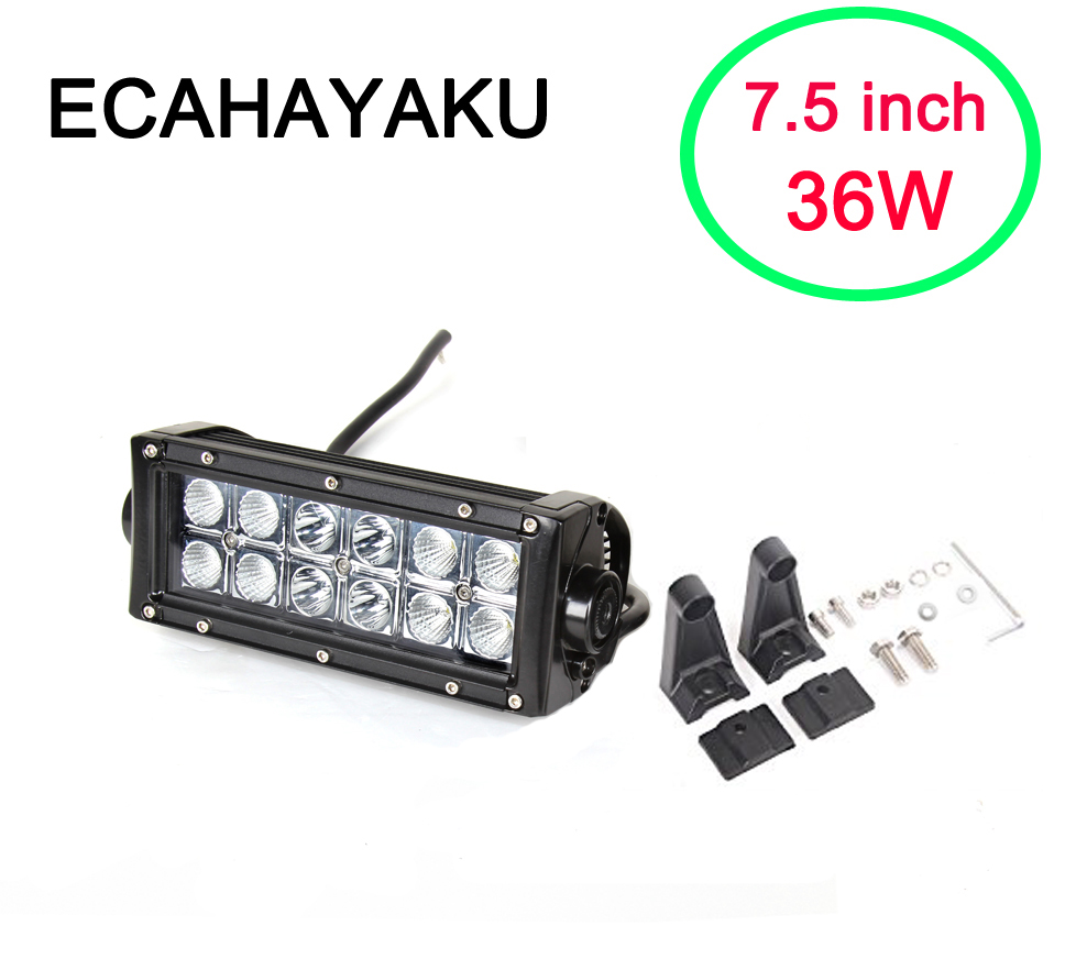 ECAHAYAKU 36w 7.5 inch Led Work Light Bar For ATV 4x4 Off road Trucks 4WD Auto DRL 12V Off-road Motorcycle Barra fog Lights