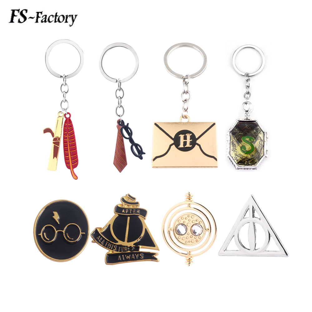 Movie HP Hogwarts Magic Feather Pen Harry Glasses Gryffindor Tie Keychain Horcrux Deathly Hallows Key Chain Fans Souvenir Gift