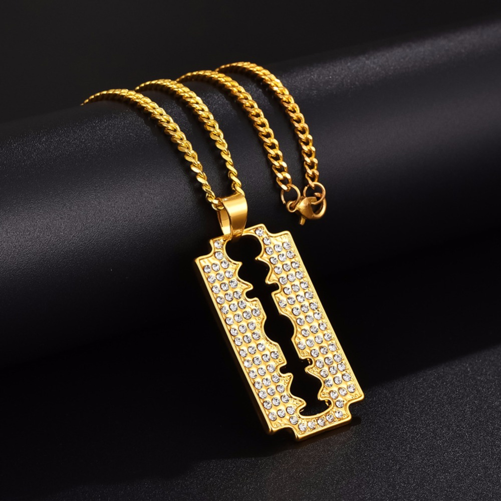 Hip Hop Bling Ice Out Razor Blade Pendants Necklaces Gold Color Stainless Steel Chain Barber Shop Necklace for Men Jewelry