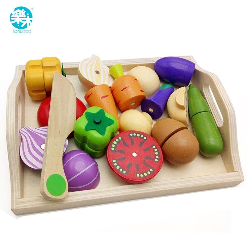 logwood brinquedos de madeira do bebe fingir jogar brinquedos de cozinha corte frutas e vegetais educacao
